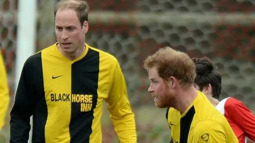 Prince Harry and William played football